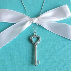 Blue enamel beaded heart key necklace
